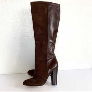 Joan & David Brown Leather Knee High Heel Boots